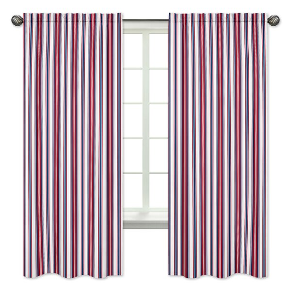 Nautical Nights Striped Semi-Opaque Rod Pocket Curtain Panels (Set of 2) by Sweet Jojo Designs