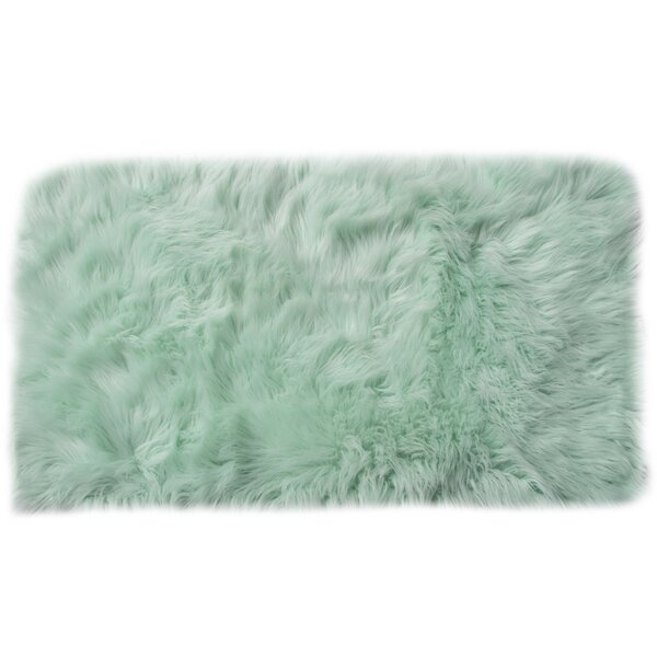Charlotte Handmade Shag Faux Sheepskin Mint Area Rug by House of Hampton
