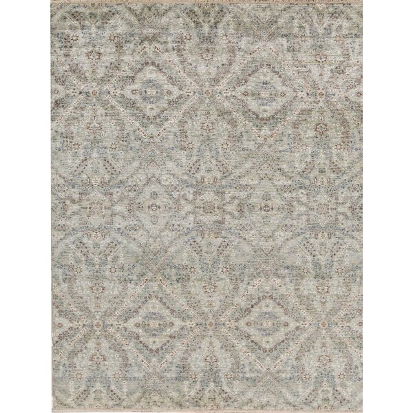 Hand-Knotted Wool Green Rug