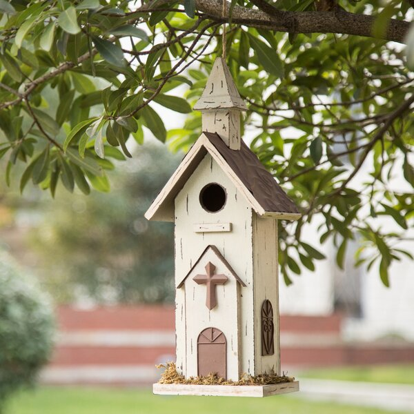 Garden Church 16 in x 6.5 in x 5 in Birdhouse by Glitzhome