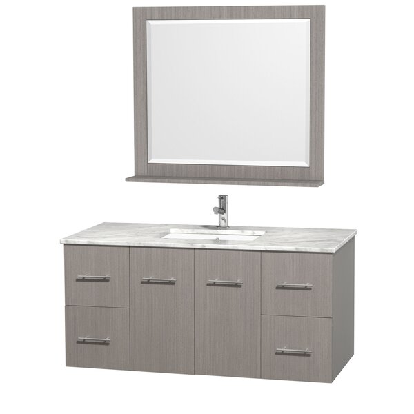 Centra 48 Single Gray Oak Bathroom Vanity Set with Mirror by Wyndham Collection
