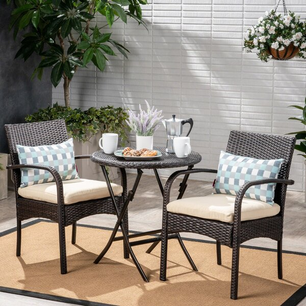 Dereham Outdoor 3 Piece Bistro Set With Cushions By Three Posts
