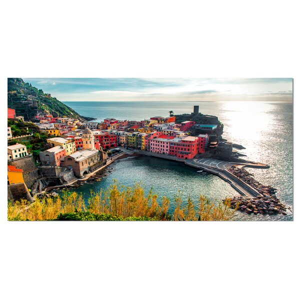 Vernazza Bay Aerial View Photographic Print on Wrapped Canvas by Design Art