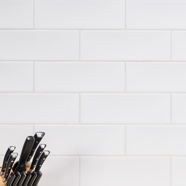 Leila 4 x 12 Ceramic Subway Tile in White by Grayson Martin