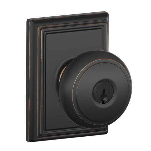 Andover Knob with Addison Trim Keyed Entry Lock by