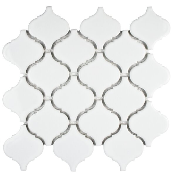 Retro 2.87 x 3.06 Porcelain Lantern Mosaic Tile in Glossy White by EliteTile