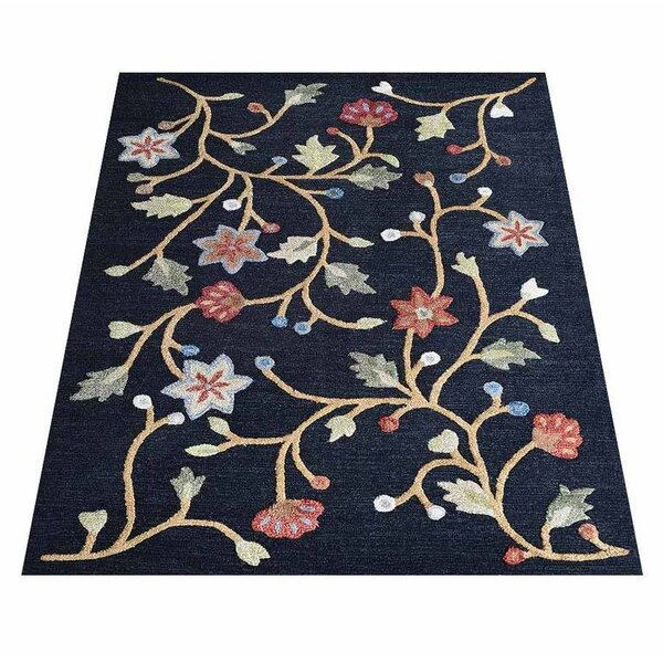 Tullos Hand-Tufted Wool Navy Area Rug by Red Barrel Studio
