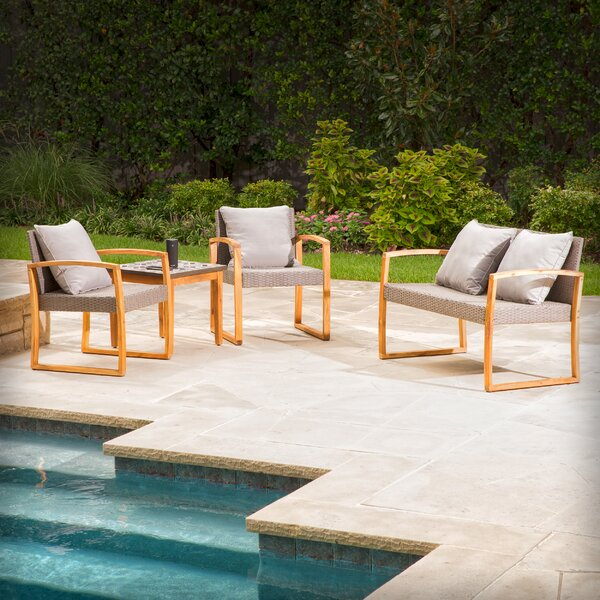 Greenport 4 Piece Teak Sofa Set with Cushions by Bloomsbury Market