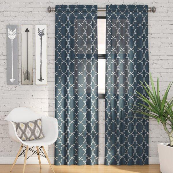 Kaiser Geometric Semi-Sheer Rod Pocket Curtain Panels (Set of 2) by Zipcode Design