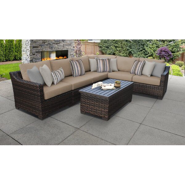 River Brook 7 Piece Outdoor Wicker Patio Furniture Set by kathy ireland Homes & Gardens by TK Classics