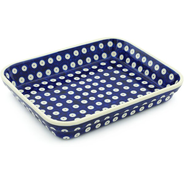 Eyed Peacock Rectangular Non-Stick Polish Pottery Baker by Polmedia