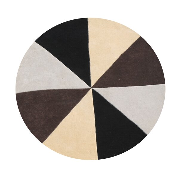 Kinnear Geometric Hand-Tufted Wool Beige/Black/Brown Area Rug by Latitude Run
