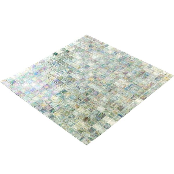 Breeze 0.62 x 0.62 Glass Mosaic Tile in Blue/Yellow/Green by Splashback Tile