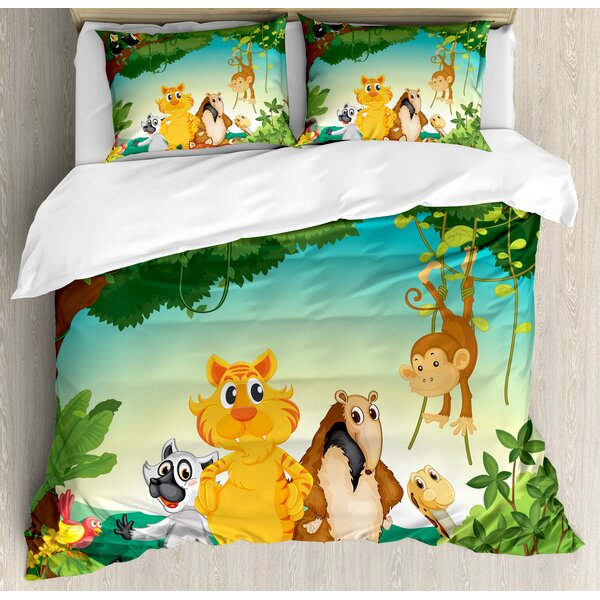 Forest Scene with Different Animals Habitat Jungle Tropical Environment Kids Cartoon Duvet Set by East Urban Home