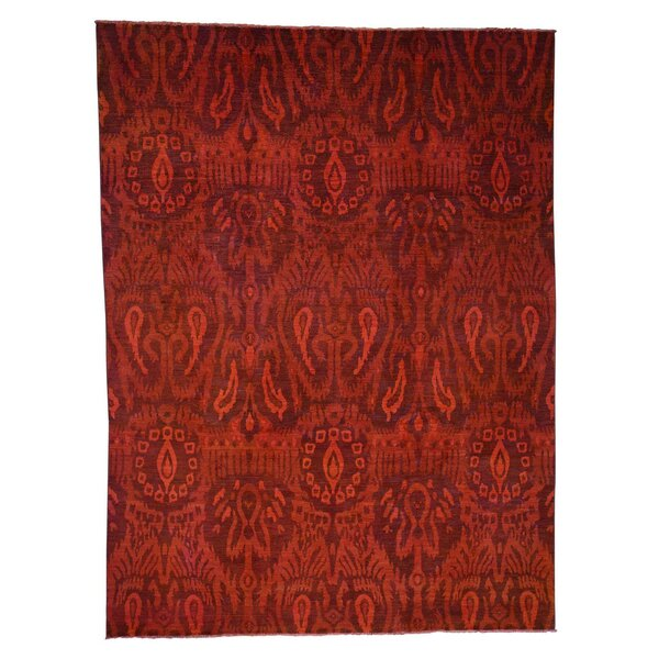 One-of-a-Kind Espada Overdyed Ikat Oriental Hand-Knotted Red Area Rug by World Menagerie