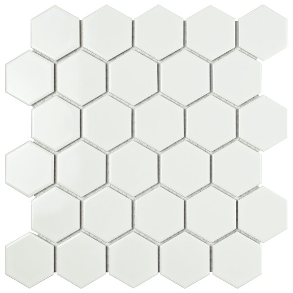 Retro Hexagon 2 x 2 Porcelain Mosaic Tile in Glossy White by EliteTile