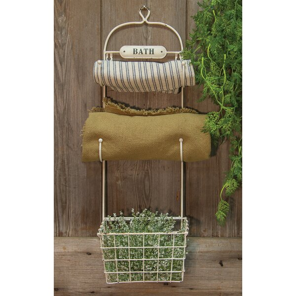 Bath Towel Rack and Basket by The Hearthside Collection