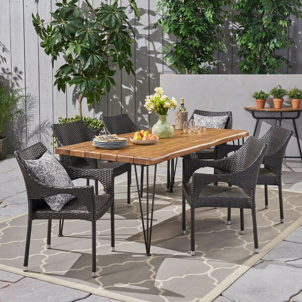 Devencove Patio 7 Piece Dining Set by Brayden Studio