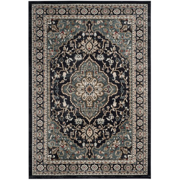 Taufner Anthracite/Teal Area Rug by Astoria Grand