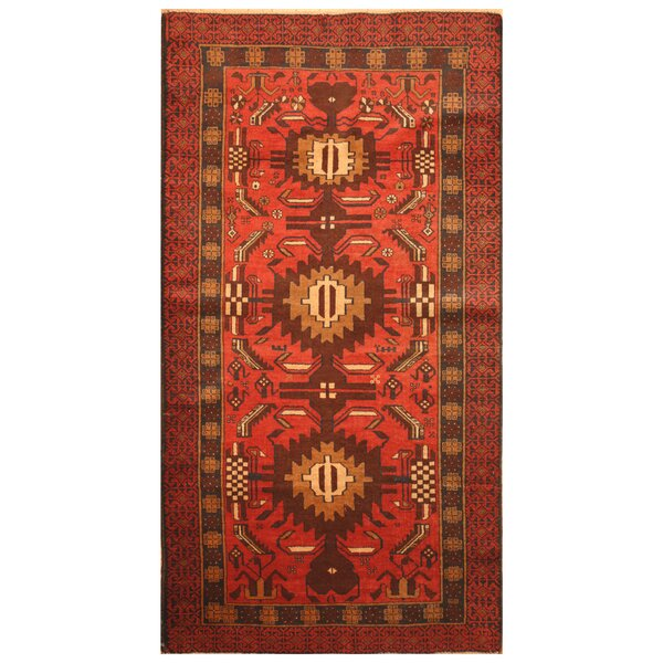 One-of-a-Kind Prentice Hand-Woven Wool Red/Navy Area Rug by Isabelline