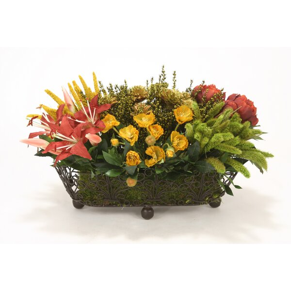 Mixed Grass, Flowers in Wire Basket by Distinctive Designs