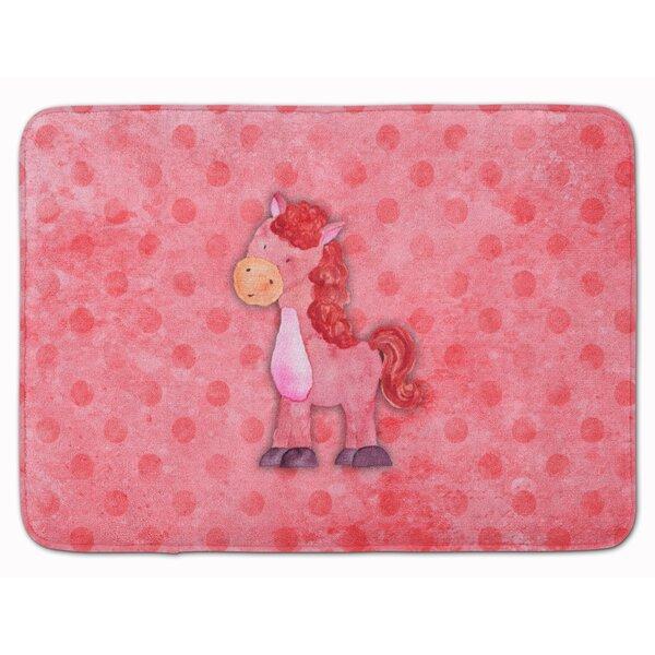 Horse Watercolor Rectangle Microfiber Non-Slip Bath Rug