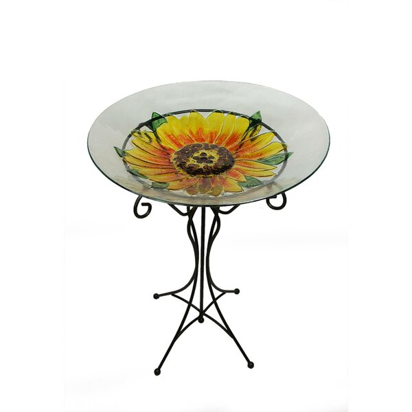 Hand Painted Glass Sunflower Spring Outdoor Garden Birdbath by Northlight Seasonal