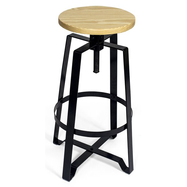 Halie Adjustable Height Round Swivel Bar Stool by Williston Forge
