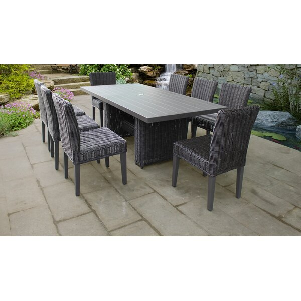 Venice 9 Piece Outdoor Patio Dining Set with Cushions by TK Classics