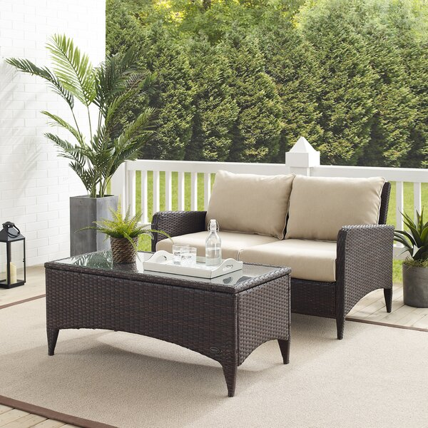 Mosca 2 Piece Rattan Sofa Seating Group with Cushions by World Menagerie World Menagerie