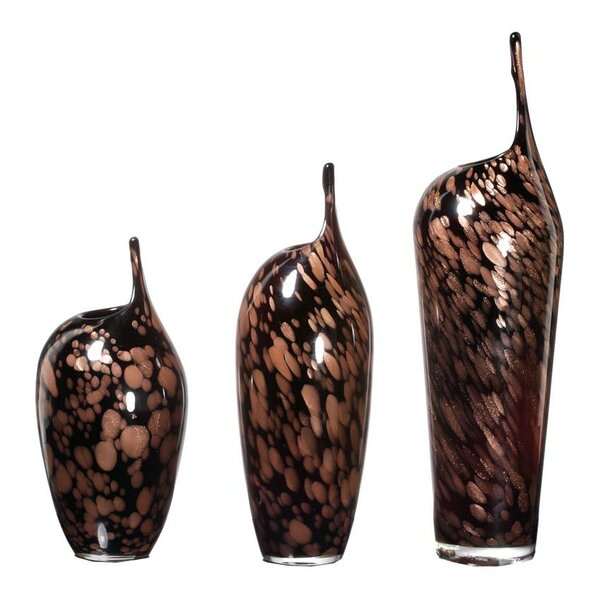 3 Piece Coal Glass Vase Set by ABC Home Collection