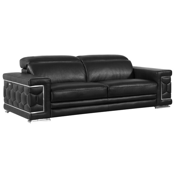 Hawkesbury Common Leather Sofa by Orren Ellis