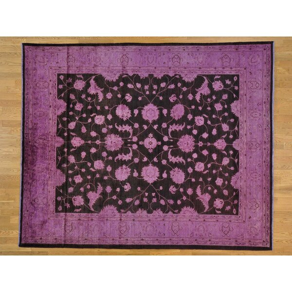 One-of-a-Kind Beaumont Purple Overdyed Hand-Knotted Black Wool Area Rug by Isabelline