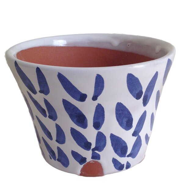 Delia Wheat Glazed Funnel Clay Pot Planter by Gracie Oaks