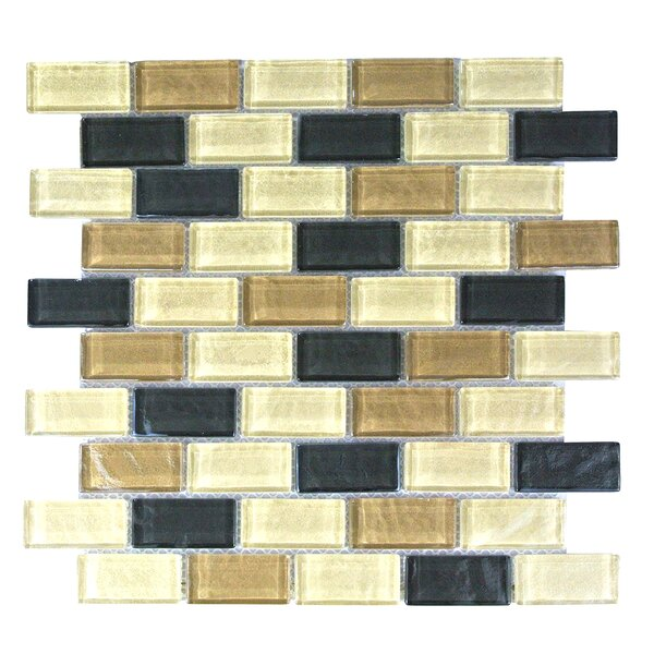 Geo 1 x 2 Glass Mosaic Tile in Brown Amazonia by Abolos