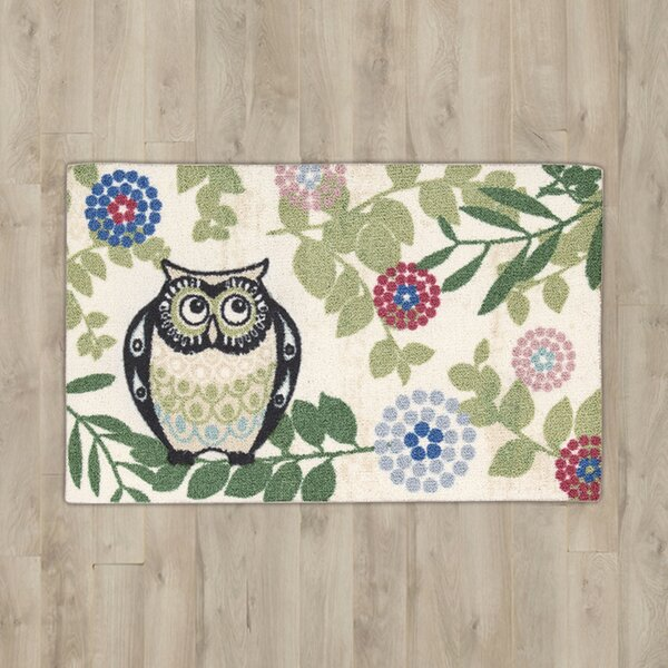 Nesmith Owl Beige/Green Area Rug by Andover Mills