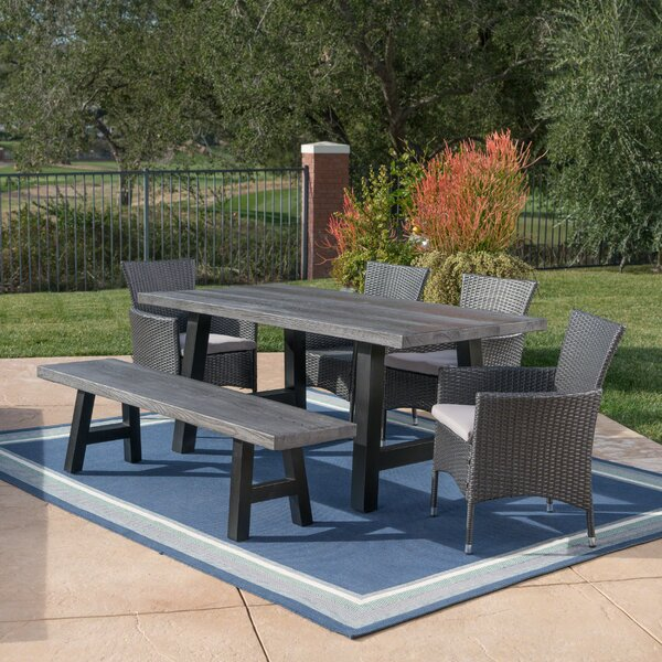Hudnall Outdoor 6 Piece Dining Set with Cushions by Alcott Hill