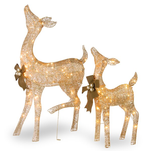 Fawn and Doe Decoration Figurine Set by The Holida