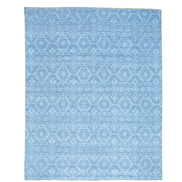 Ikat Tone on Tone Oriental Hand-Knotted Silk Gray Area Rug by Bloomsbury Market