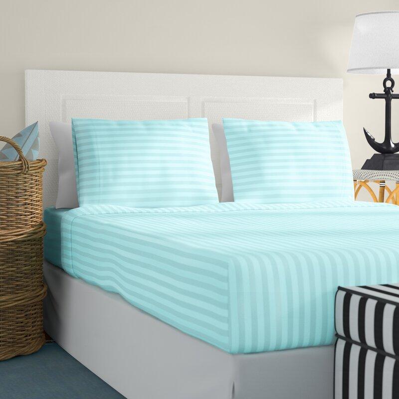 Organic Cotton Sheet Collection 1000 TC US Sizes Aqua Blue Striped Choose Item