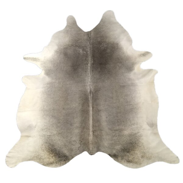 Deforge Natural Cowhide Gray Area Rug by Foundry Select