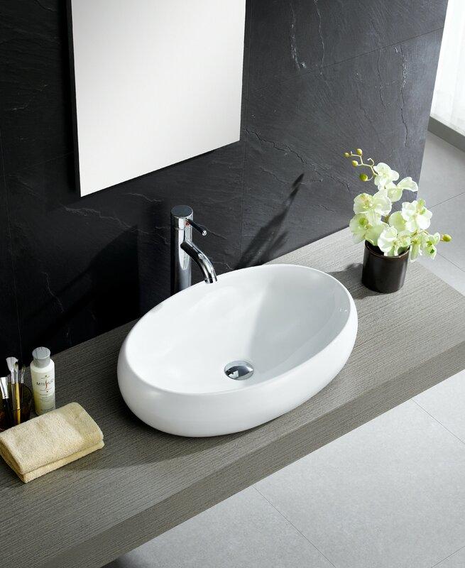 Bathroom Sinks Oval fine fixtures modern oval vessel bathroom sink & reviews | wayfair