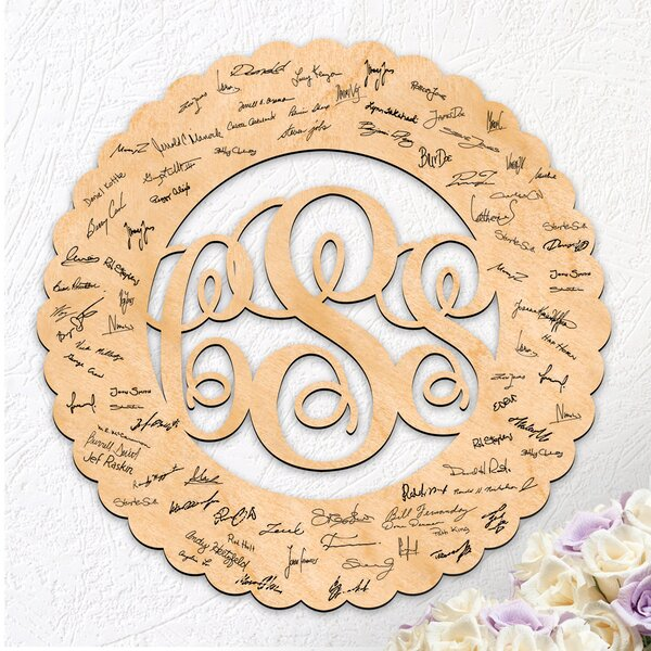 Wedding 3 Letter Monogram Scalloped Frame Guest Book by aMonogram Art Unlimited