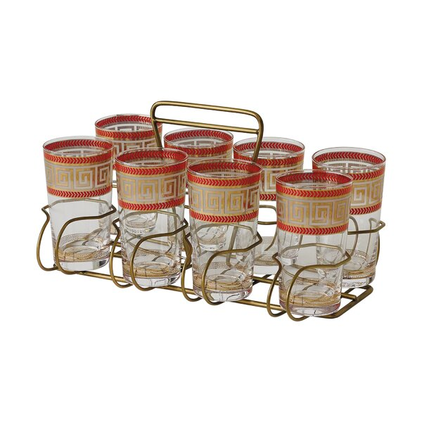 Modernique 9 Piece Glass Every Day Glasses with Caddy Set by Global Views