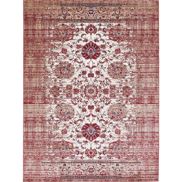 Florence Ivory/Burgundy Area Rug by Unique Loom