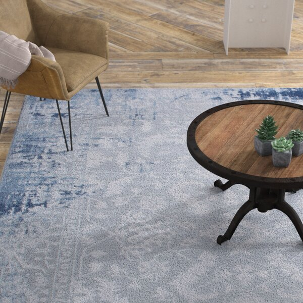 Glidden Soft Antiqued Border Blue Area Rug by Williston Forge