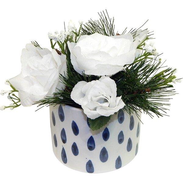 White Christmas Rose Arrangement by Latitude Run