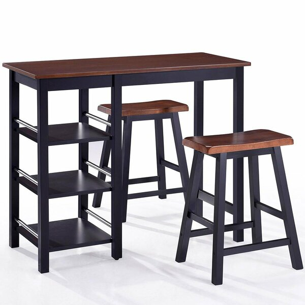 Scribner 3 Piece Solid Wood Dining Set by Charlton Home