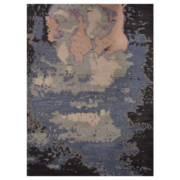 Johns Contemporary Hand-Knotted Wool Blue/Black Area Rug by Latitude Run