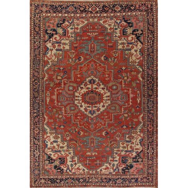 Ressie Pre-1900 Antique Vegetable Dye Heriz Serapi Persian Handwoven Flatweave 12'5 x 16'4 Wool Red Area Rug